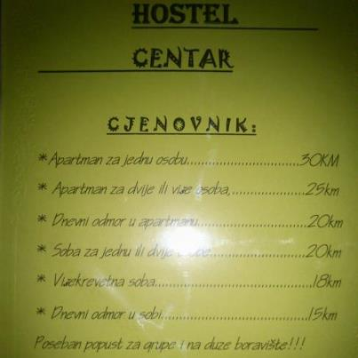 Hostel Centar I, Banja Luka, Bosnia and Herzegovina, preferred site for booking holidays in Banja Luka