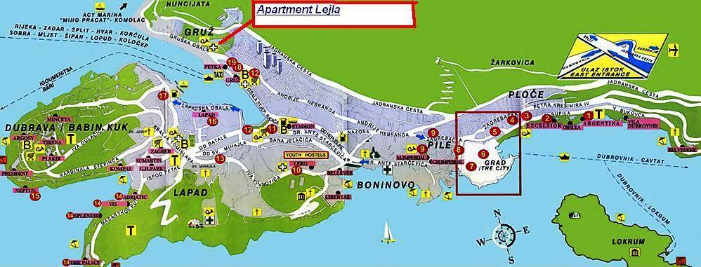 Apartment Lejla, Dubrovnik, Croatia, view and explore maps of cities and hotel locations in Dubrovnik