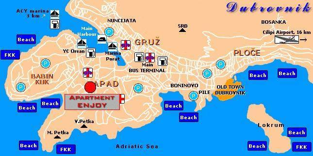 Apartment Enjoy, Dubrovnik, Croatia, popular locations with the most hotels in Dubrovnik